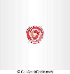 rose, stilisiert, vektor, logo, rotes , ikone