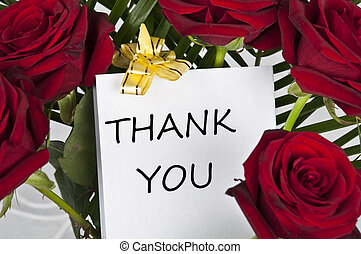 Rose bouquet and thank you message