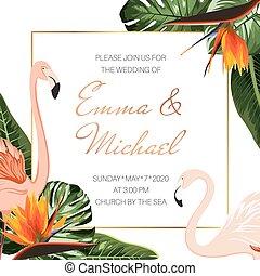 rose, strelitzia, philodendron, invitation, leaves., monstera, exotique, flamingos., mariage, orange, template., fleurs, événement, carte