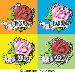 rose, style, art, tribal, pop