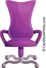 rose, style, bureau, icône, chaise, dessin animé