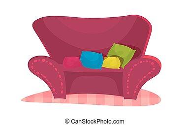 rose, style, salle, vendange, contemporain, chaise