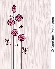 rose, stylisé, r, carte voeux