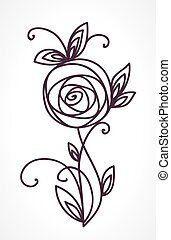 Rose. Stylized flower bouquet hand drawing. Outline icon symbol. Present for wedding, birthday invitation card.