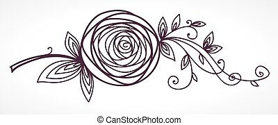 Rose. Stylized flower hand drawing