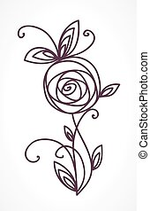 Rose. Stylized flower symbol. Outline hand drawing icon. Decorative element for wedding, birthday design