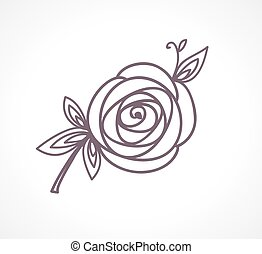 Rose. Stylized flower symbol.
