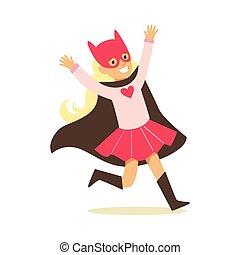 rose, superhero, avoir, habillé, masque, chat, noir, déguisement, feindre, cap, girl, super, sourire, pouvoirs, caractère