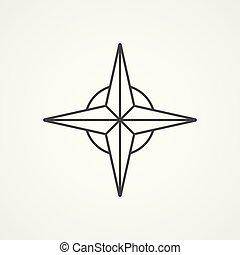 rose, symbol, zeichen, vektor, wind, ikone