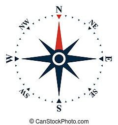 rose, symbole, compas, icône, navigation, vent