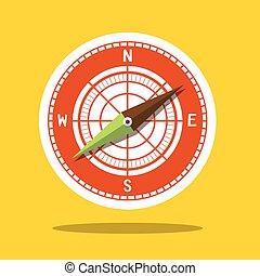 rose, symbole, -, compas, vent, icône