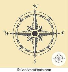 rose, symbole, nautique, -, signe, compas, navigation, ou, vent