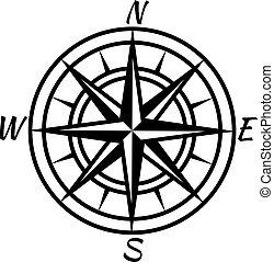 rose, symbole, trésor, map., tracer, nautique, vecteur, advenure, retro, compass., vendange, mondiale, marin, vent, icône