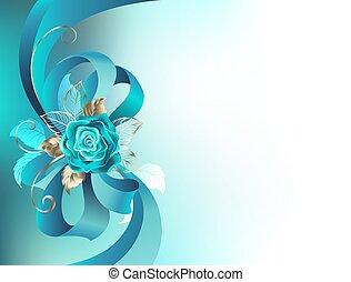 rose, türkis, seide, schleife