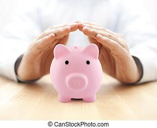 rose, table., argent., protéger, protégé, banque, bois, mains, porcin, ton