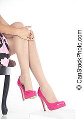 rose, talons, jambes, femme