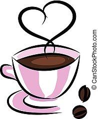 rose, tasse à café, simple, illustration, arrière-plan., vecteur, blanc