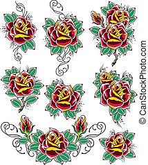 rose, tatouage
