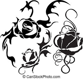 Rose tattoo set vector illustration