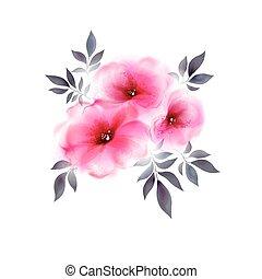 rose, tendre, fleurs, trois