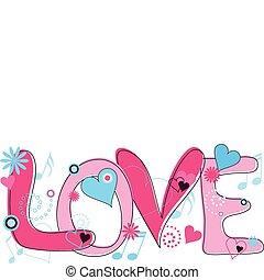 rose, texte, bleu, amour