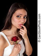 Rose thorn in her finger