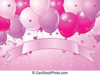 rose, tomber, ballons, valentin