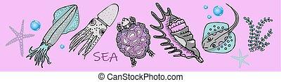 rose, tortoise., style, coquille, enfants, habitants, calamar, collection, arrière-plan., tortue, autocollants, marin
