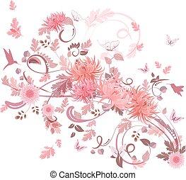 rose, tourbillon, fleurs, ton, design.