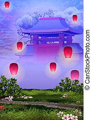 rose, tranquille, lanternes, jardin, temple