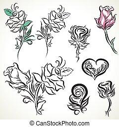 rose, tribal, ensemble, tatouage
