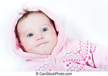 rose, tricoté, veste, bébé, cœurs, girl, adorable, rouges