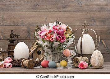 rose, tulipes, oeufs, Paques, coloré