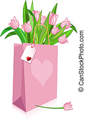rose, tulipes, sac