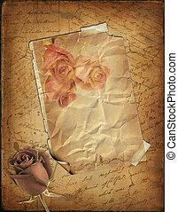 rose, und, altes , papier, mit, der, hand-geschrieben, text