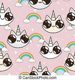 rose, unicorns, arrière-plan., chats, rainbow., licorne