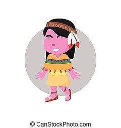 rose, utilisation, girl, costume indien