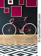 rose, vélo, contre, mur