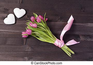 rose, valentine, bouquet, tulipes, salutation, day., carte