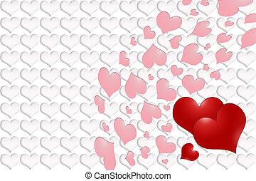 rose, valentine´s, -, cœurs, jour, rouges
