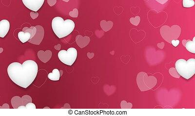 rose, valentines, rue, animation, vidéo, cœurs, blanc, jour