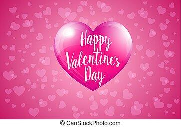 rose, valentines, -, valentin, hart, jour, carte, heureux