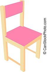 rose, vecteur, chaise, blanc, illustration, arrière-plan.