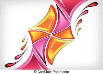 rose, vecteur, couleurs, éclaboussure, divers, fond