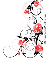 rose, vecteur, fond