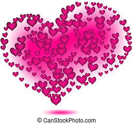 rose, vecteur, hearts.