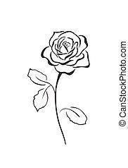 rose, vecteur, icône, fleur