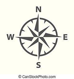 rose, vecteur, moderne, compas