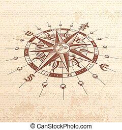 rose, vecteur, perspective, compas