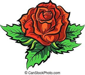 rose, vecteur, silhouette